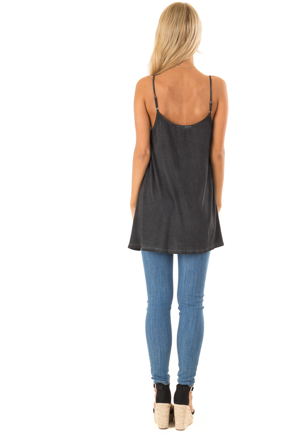 Charcoal Flowy Tank Top with Crochet Detail back full body