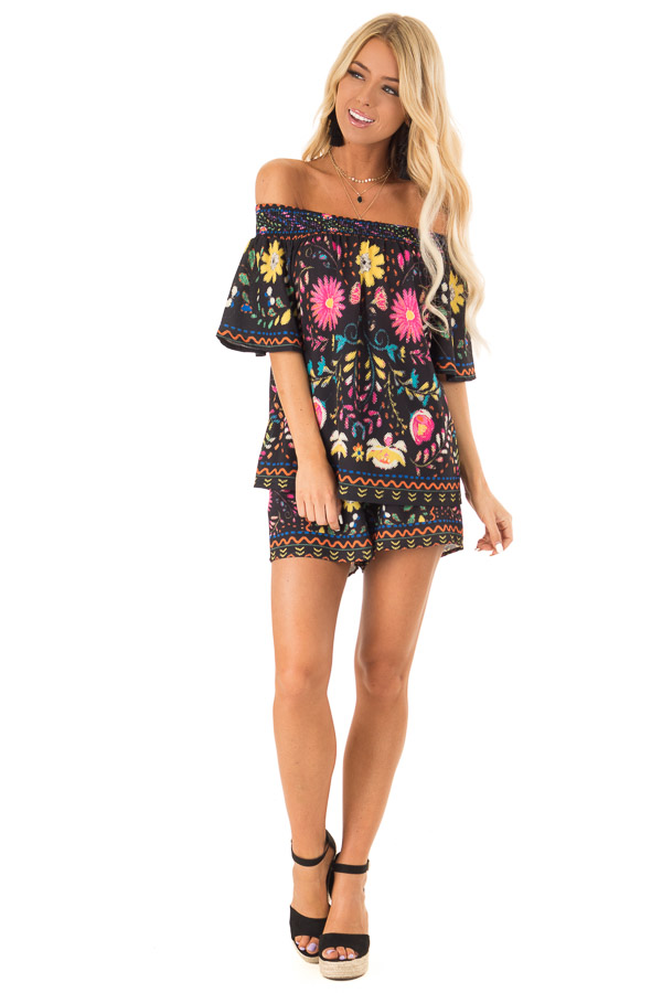 Black Off the Shoulder Top with Multi Color Floral Print front full body