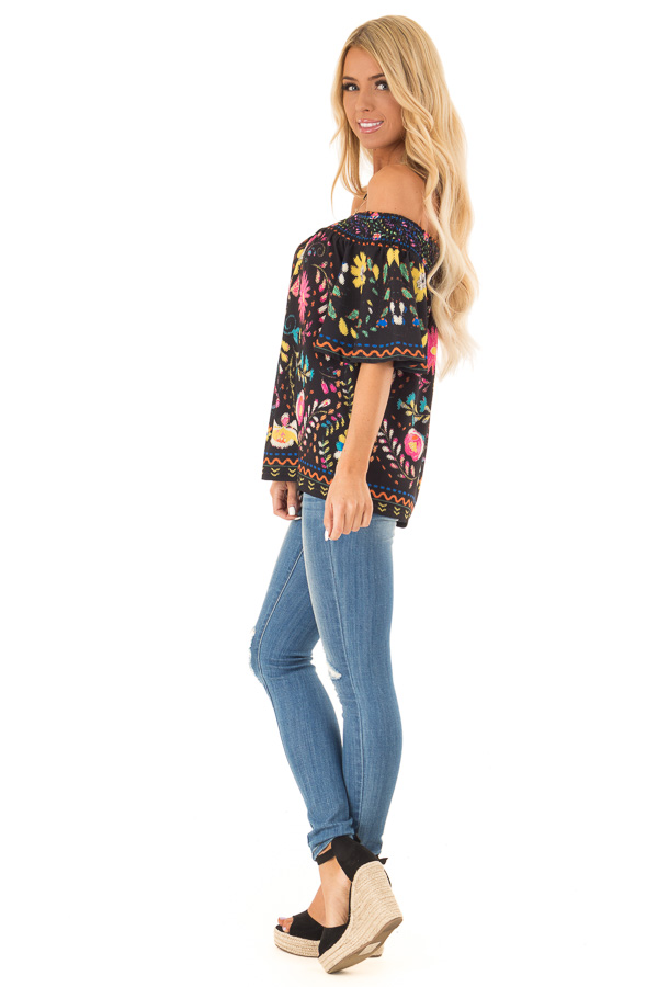 Black Off the Shoulder Top with Multi Color Floral Print side full body
