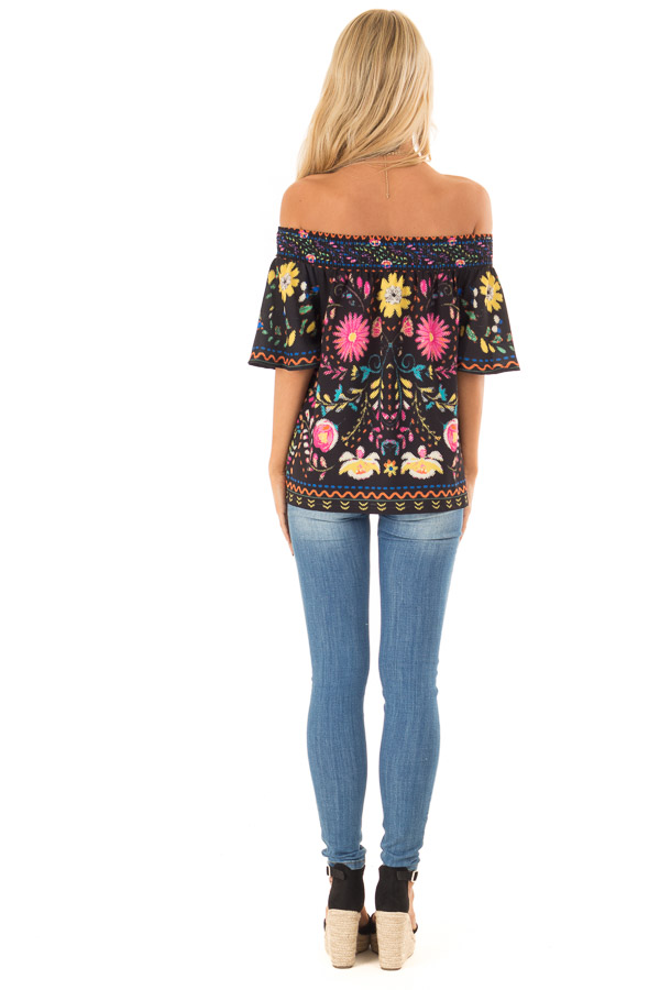 Black Off the Shoulder Top with Multi Color Floral Print back full body