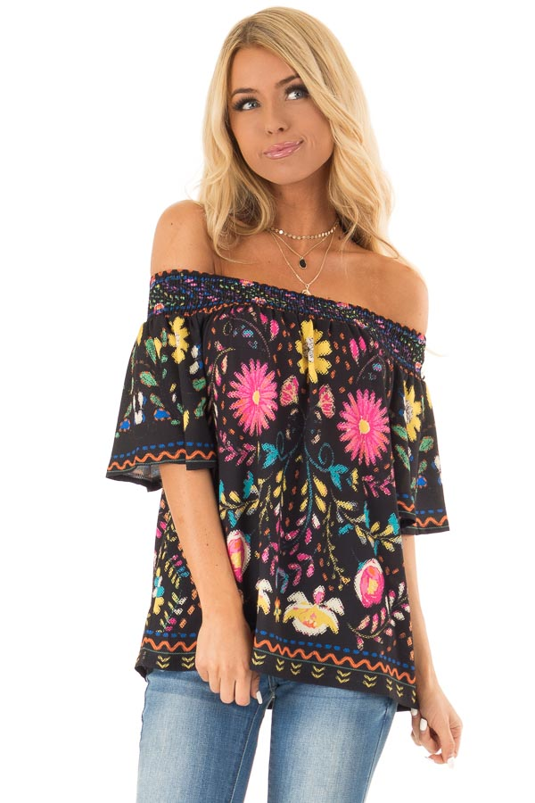 Black Off the Shoulder Top with Multi Color Floral Print front close up