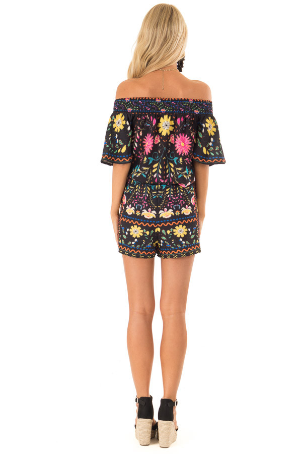 Black Shorts with Multi Color Floral Print and Front Tie back full body