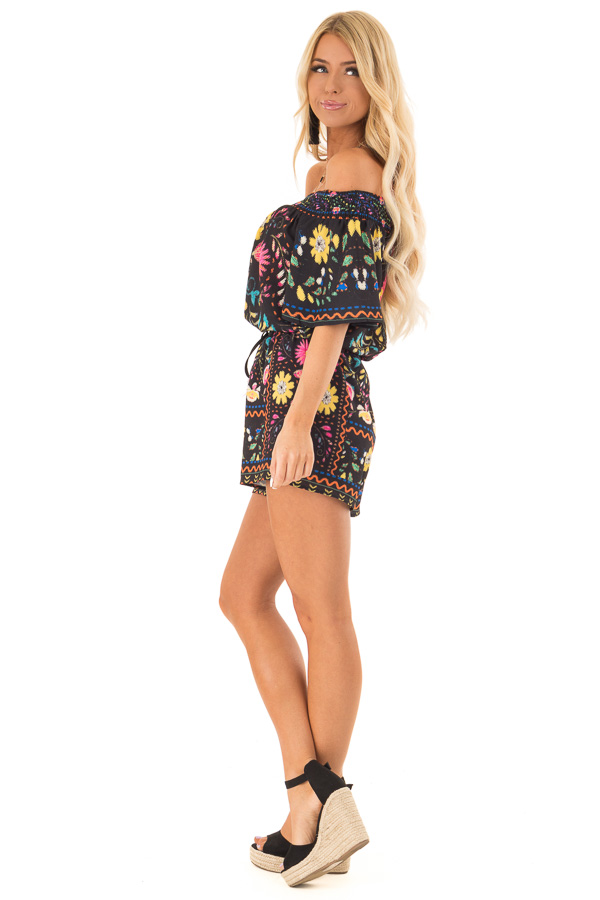 Black Shorts with Multi Color Floral Print and Front Tie side full body