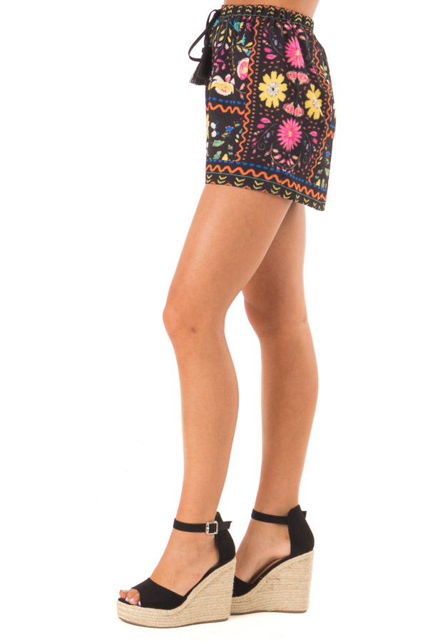 Black Shorts with Multi Color Floral Print and Front Tie side close up