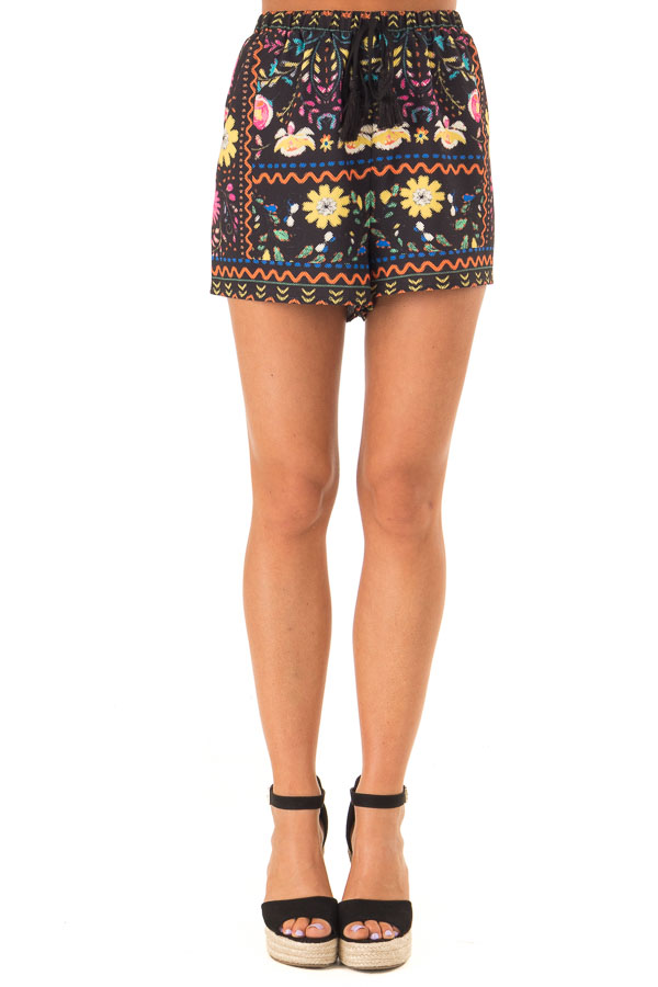 Black Shorts with Multi Color Floral Print and Front Tie front close up