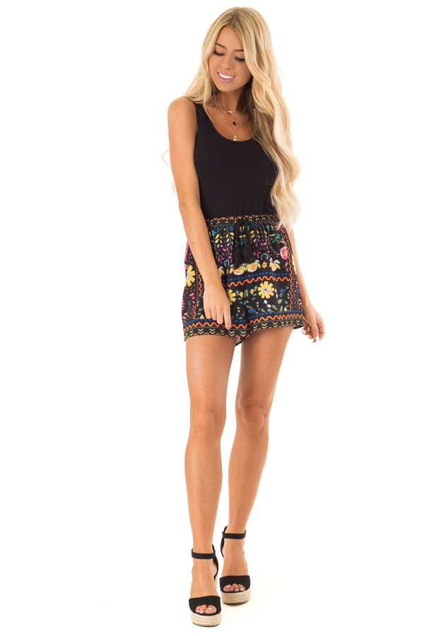 Black Shorts with Multi Color Floral Print and Front Tie front full body