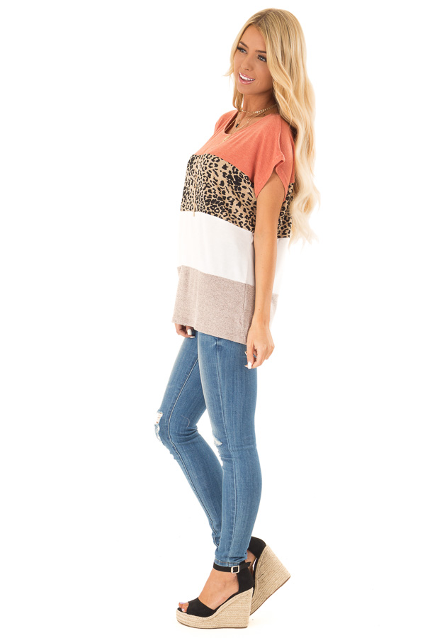 Rust and Cheetah Print Color Block Top with Short Sleeves side full body
