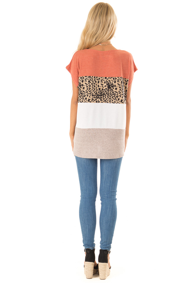Rust and Cheetah Print Color Block Top with Short Sleeves back full body