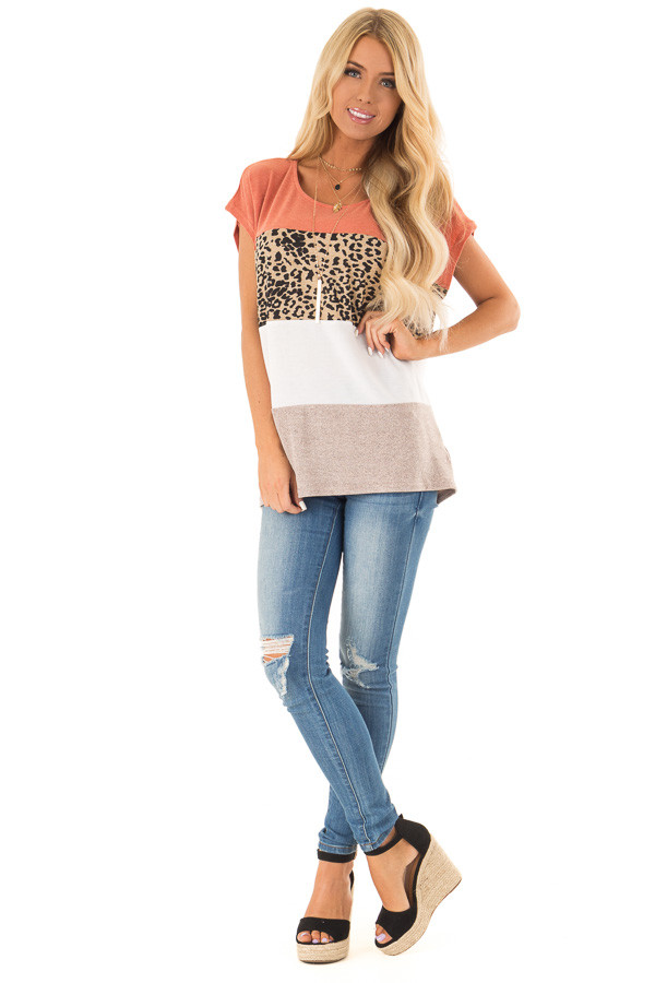 Rust and Cheetah Print Color Block Top with Short Sleeves front full body