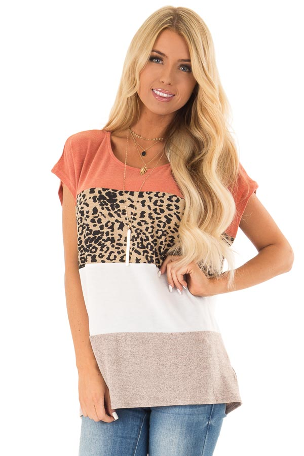 Rust and Cheetah Print Color Block Top with Short Sleeves front close up