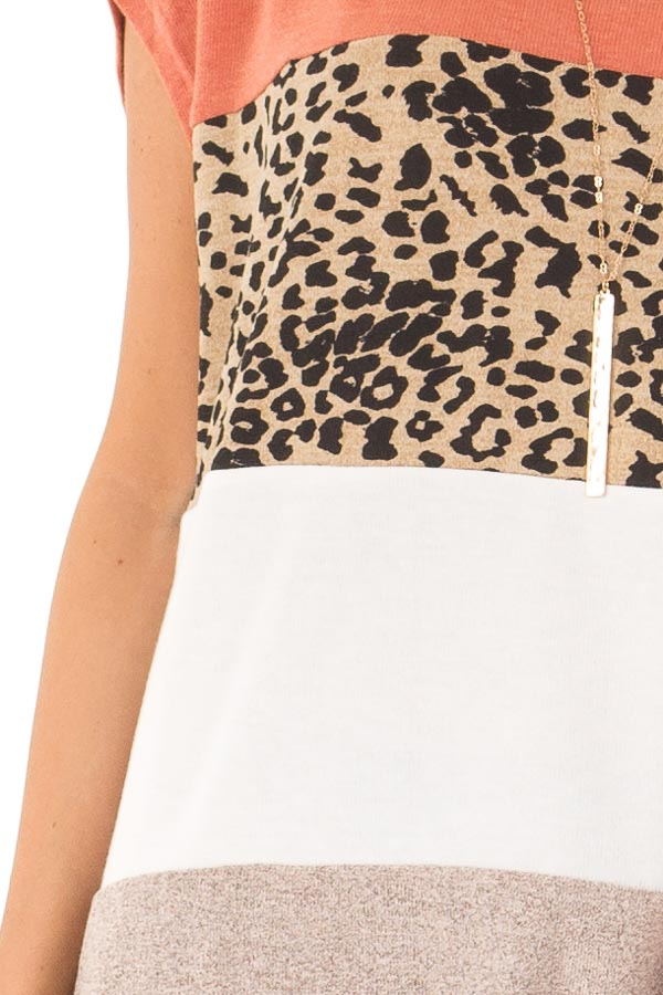 Rust and Cheetah Print Color Block Top with Short Sleeves detail