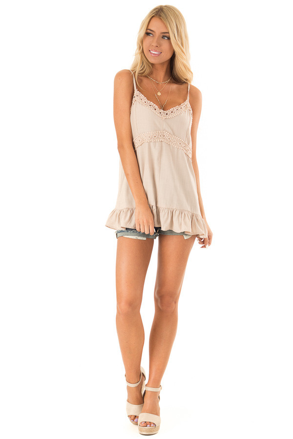 Oatmeal Tank Top with Crochet Lace and Ruffle Detail front full body
