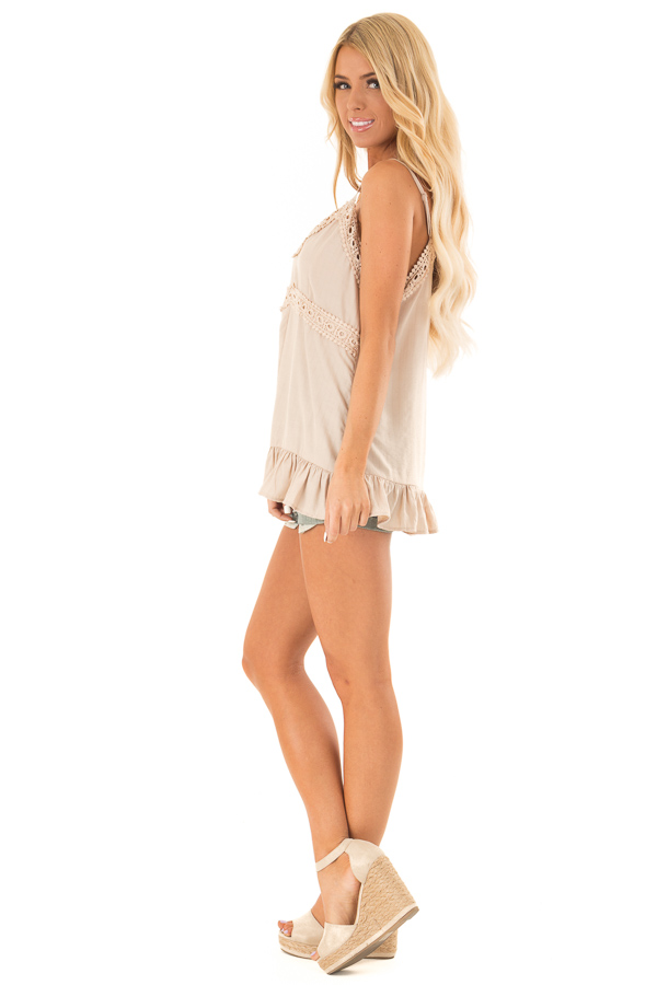Oatmeal Tank Top with Crochet Lace and Ruffle Detail side full body