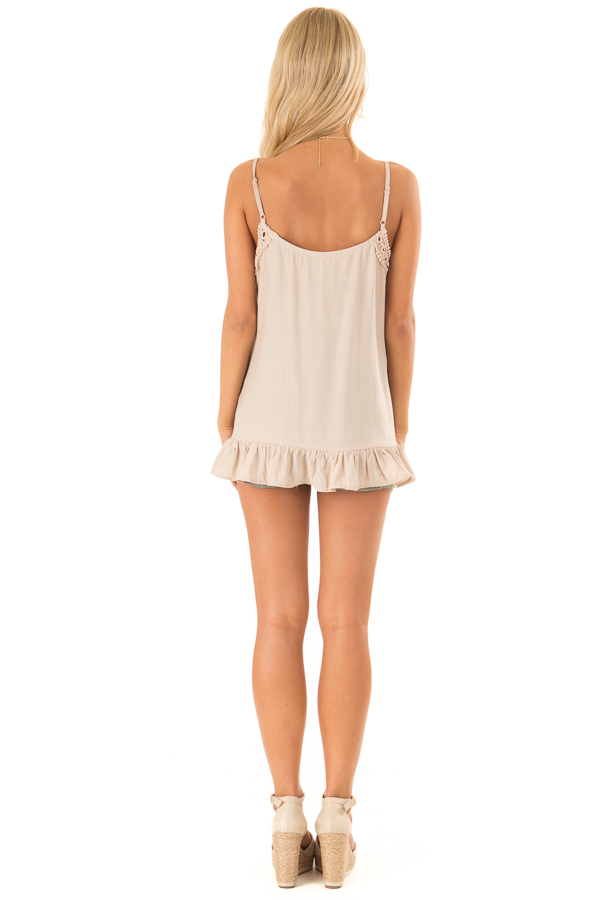 Oatmeal Tank Top with Crochet Lace and Ruffle Detail back full body