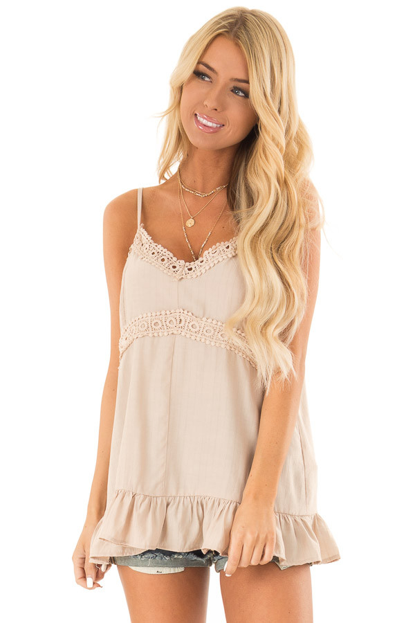 Oatmeal Tank Top with Crochet Lace and Ruffle Detail front close up