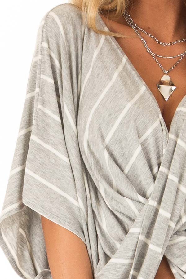 Heather Grey and Ivory Striped Top with Twisted Drape Front detail