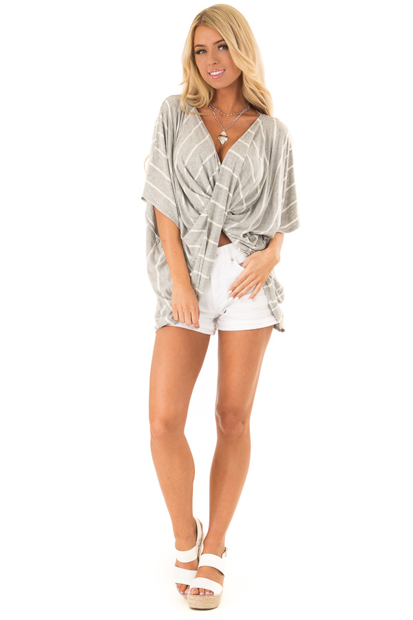 Heather Grey and Ivory Striped Top with Twisted Drape Front front full body