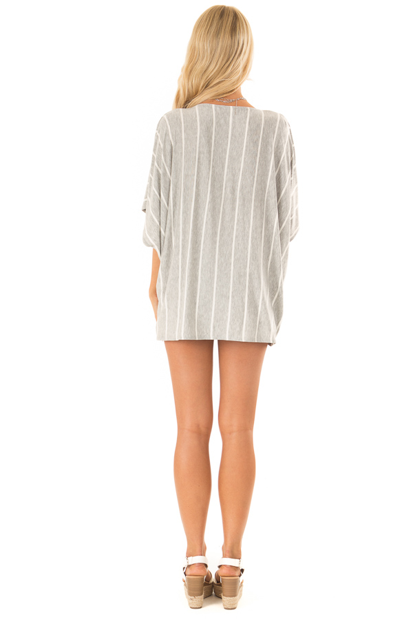Heather Grey and Ivory Striped Top with Twisted Drape Front back full body