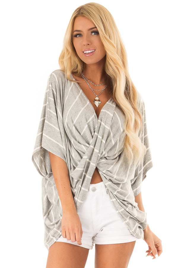 Heather Grey and Ivory Striped Top with Twisted Drape Front front close up