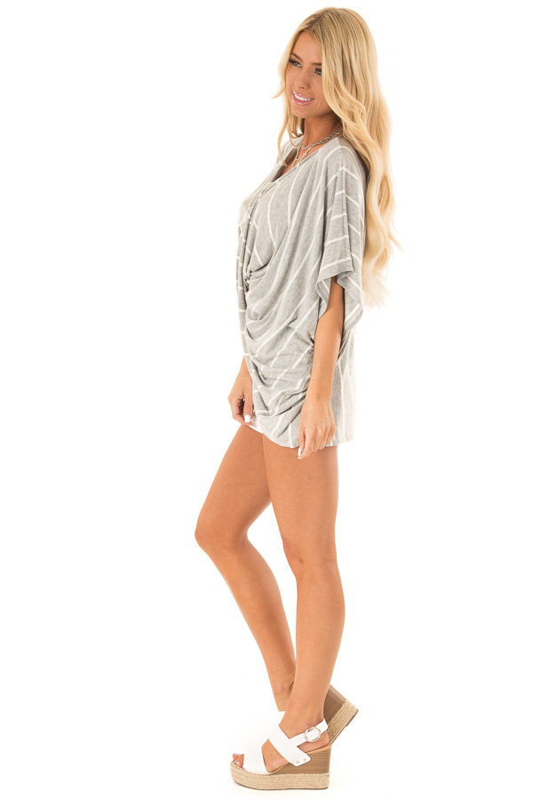 Heather Grey and Ivory Striped Top with Twisted Drape Front side full body