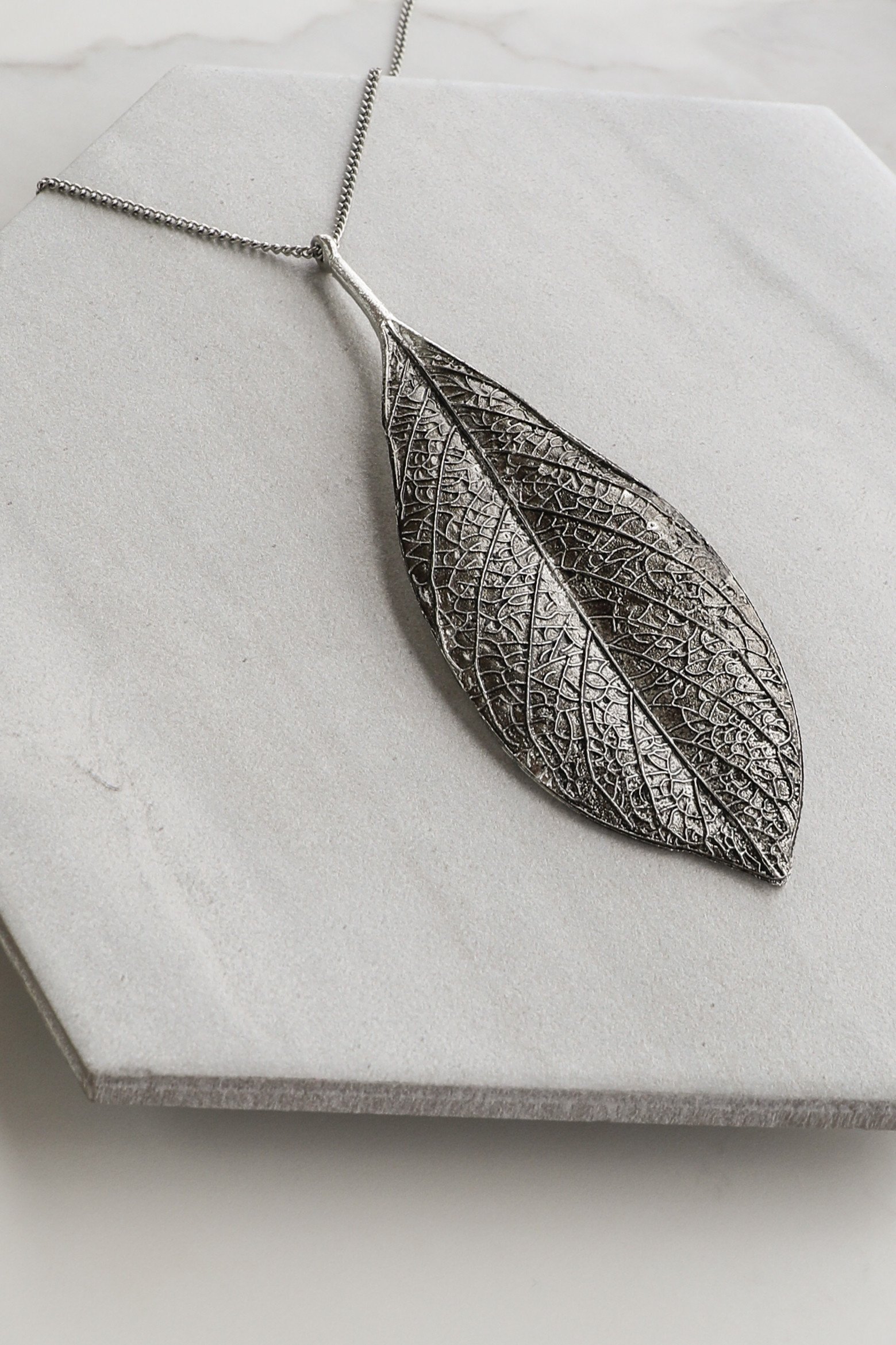 Antique Silver Long Textured Leaf Necklace