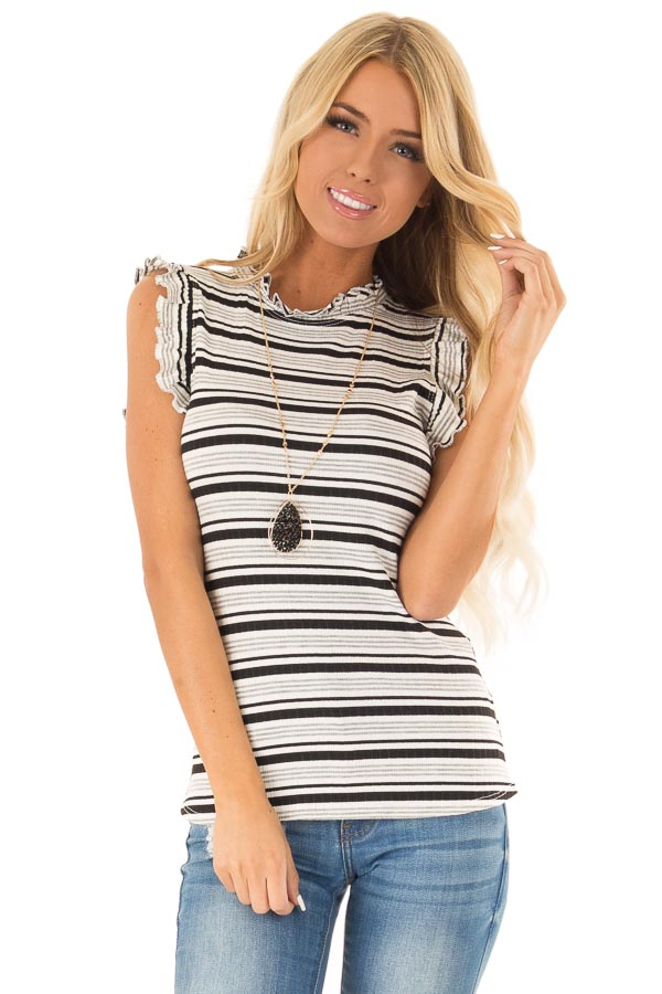 Stone Grey Striped High Neck Top with Ruffle Cap Sleeves front close up