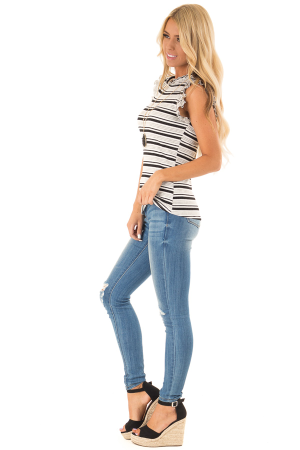 Stone Grey Striped High Neck Top with Ruffle Cap Sleeves side full body