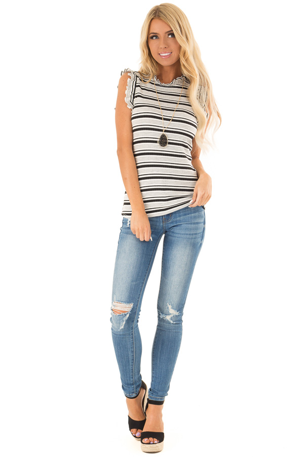 Stone Grey Striped High Neck Top with Ruffle Cap Sleeves front full body