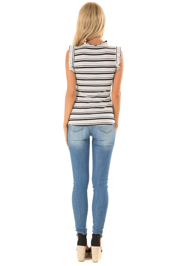 Stone Grey Striped High Neck Top with Ruffle Cap Sleeves back full body