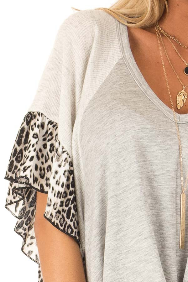 Heather Grey Top with Snow Leopard Print and Front Tie detail