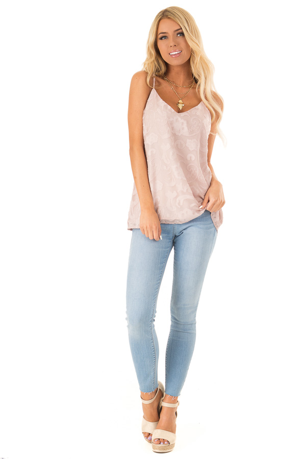 Pale Blush Floral V Neck Tank Top with Strappy Back Details front full body