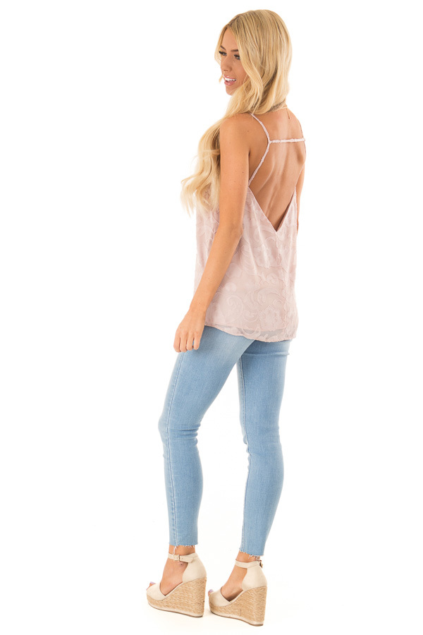 Pale Blush Floral V Neck Tank Top with Strappy Back Details side full body