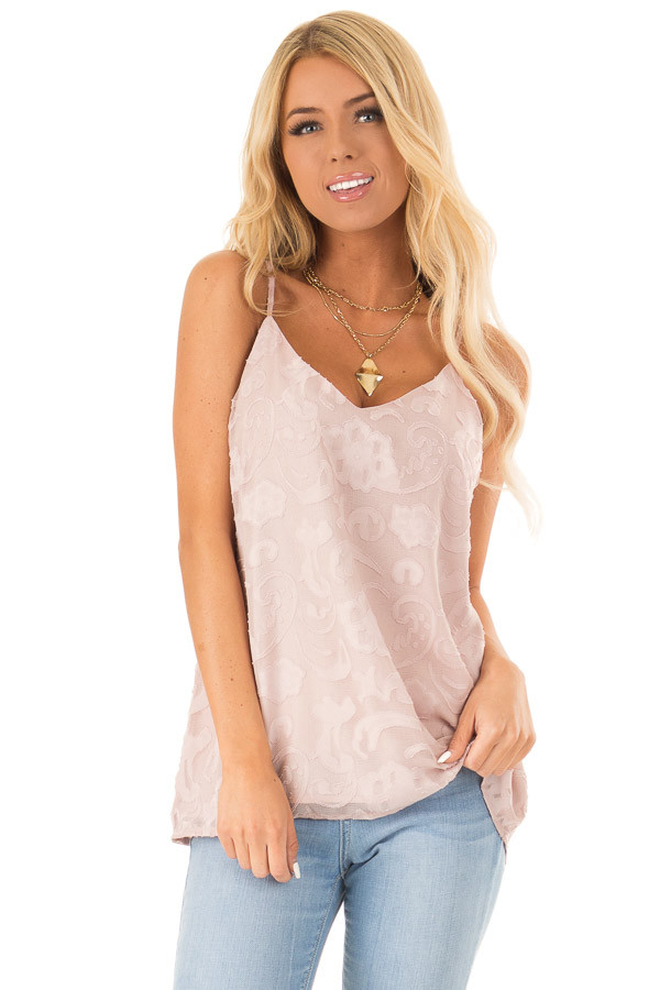 Pale Blush Floral V Neck Tank Top with Strappy Back Details front close up