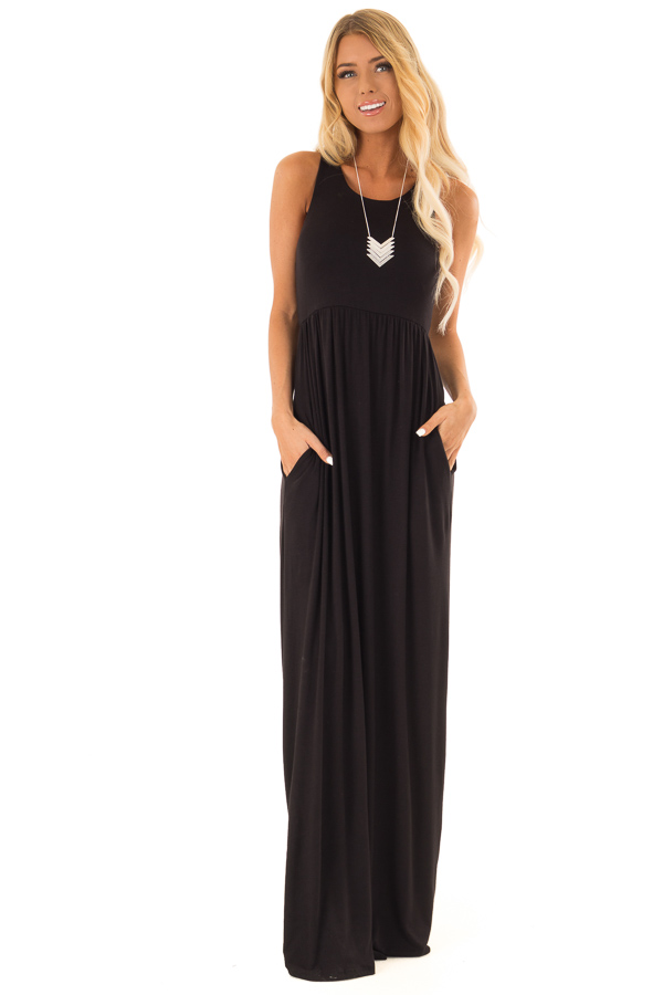 Midnight Black Jersey Knit Racerback Maxi Dress front close up