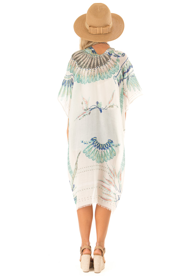 Ivory and Mint Feather and Dreamcatcher Print Kimono back full body