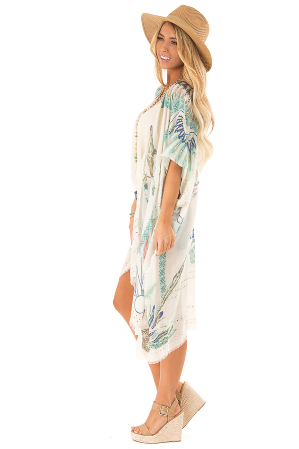 Ivory and Mint Feather and Dreamcatcher Print Kimono side full body