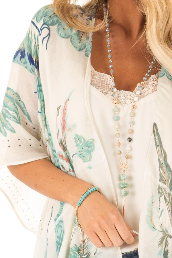 Ivory and Mint Feather and Dreamcatcher Print Kimono detail