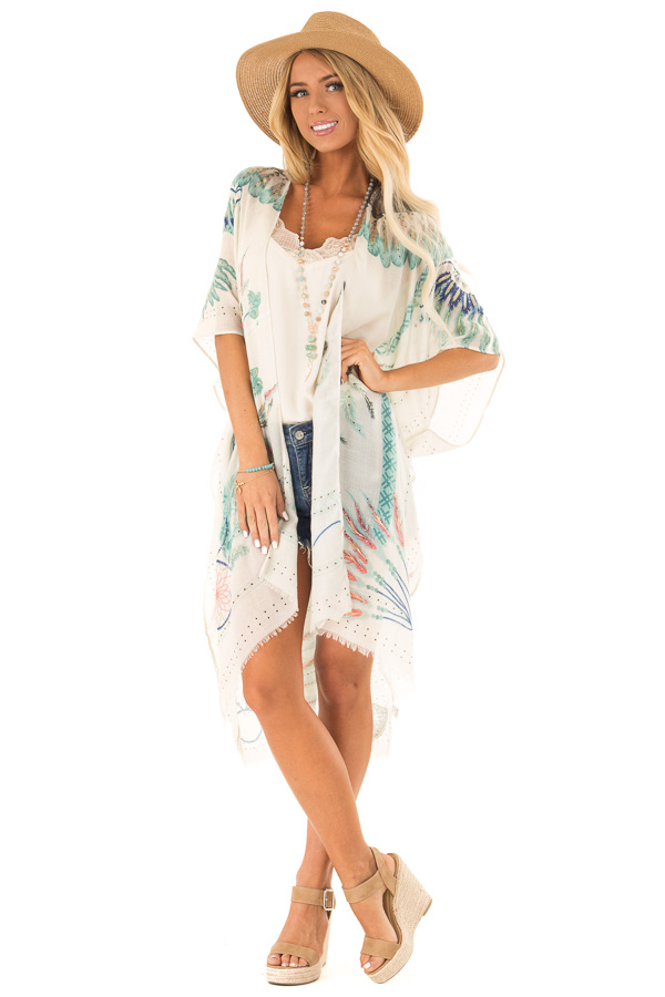 Ivory and Mint Feather and Dreamcatcher Print Kimono front full body