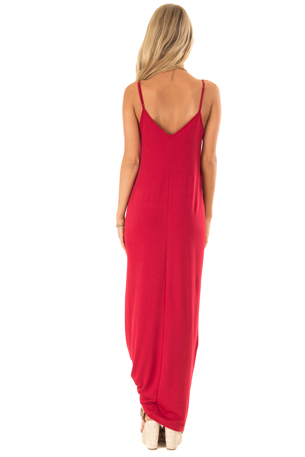 Cranberry Sleeveless V Neck Maxi Dress with Side Pockets back full body