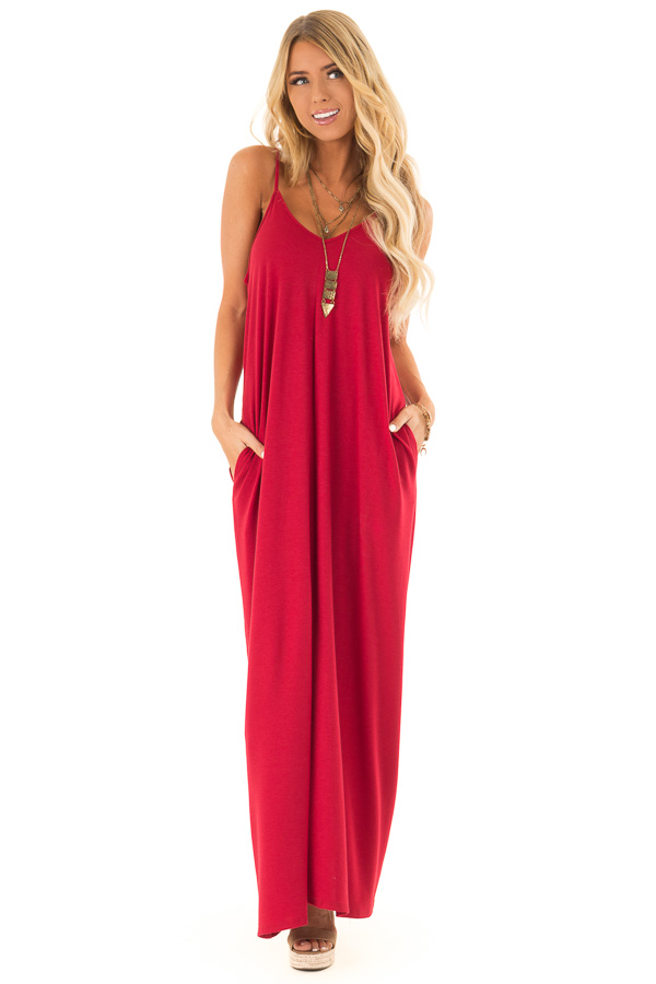 Cranberry Sleeveless V Neck Maxi Dress with Side Pockets front full body
