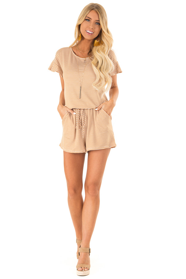Goldenrod Striped Romper with Waist Tie and Pockets front full body
