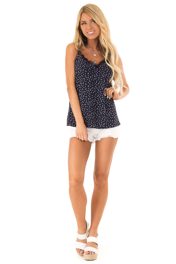 Navy and Ivory Polka Dot Tank Top with Lace Detail front full body