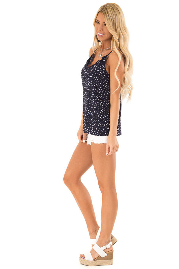 Navy and Ivory Polka Dot Tank Top with Lace Detail side full body