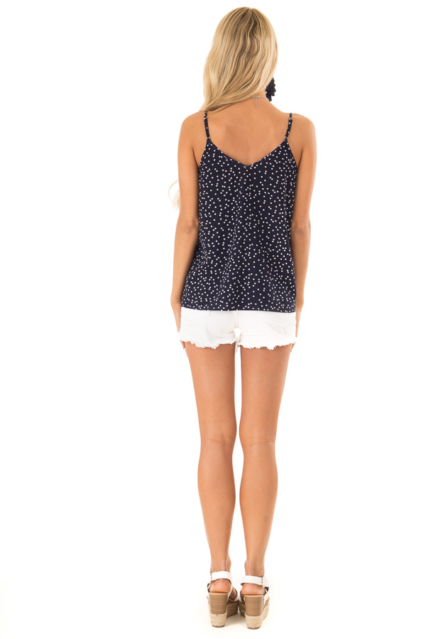 Navy and Ivory Polka Dot Tank Top with Lace Detail back full body
