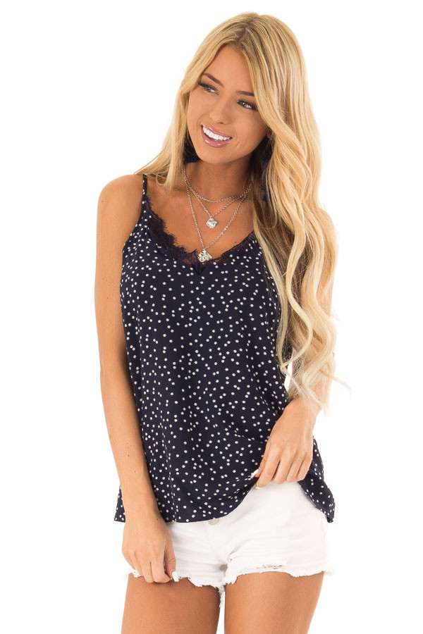 Navy and Ivory Polka Dot Tank Top with Lace Detail front close up