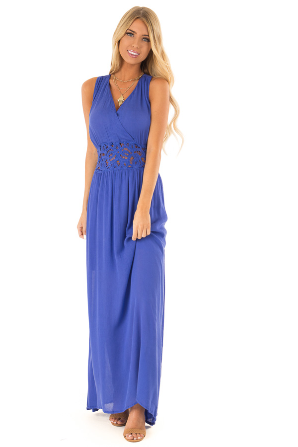 052063b70c6 Paris Blue Maxi Dress With Crochet Lace Detail - Lime Lush Boutique