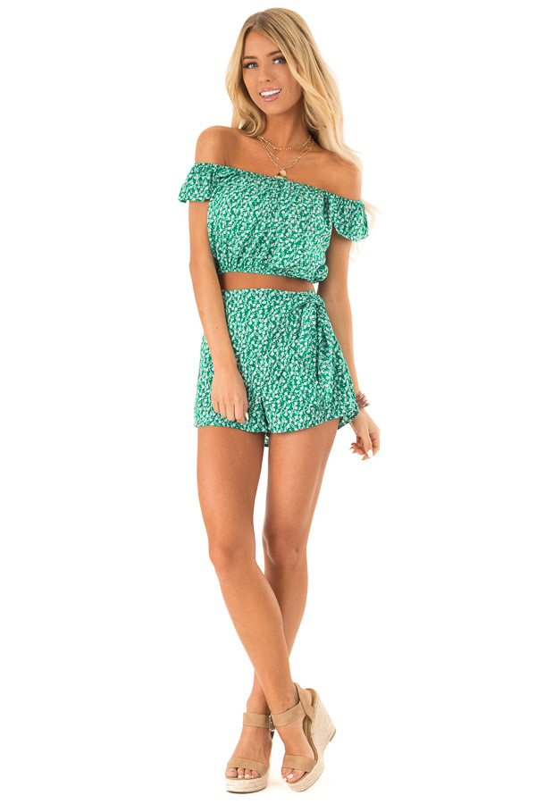 408076556d72 Kelly Green Floral Print Top and Shorts Two Piece Set front full body