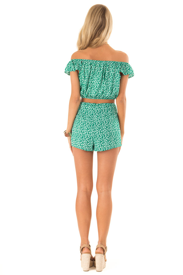 Kelly Green Floral Print Top and Shorts Two Piece Set back full body