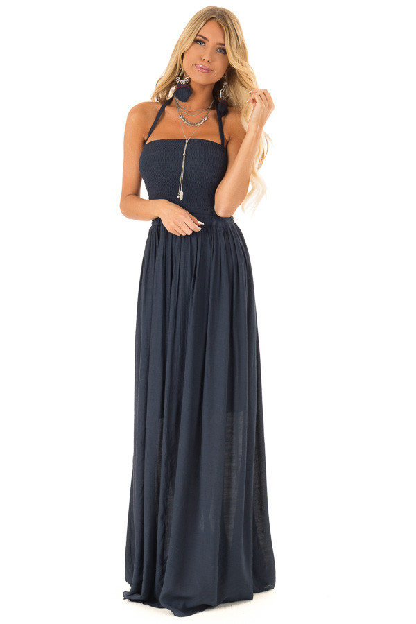 Navy Smocked Halter Maxi Dress with Criss Cross Back Detail front full body