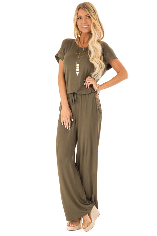 Olive Short Sleeve Jumpsuit with Waist Tie and Pockets front full body